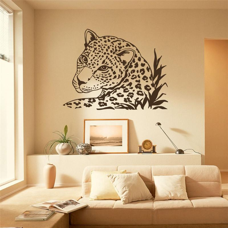 Safari Home Decor African Wall Stickers Decal Leopard Tiger Wild Cat