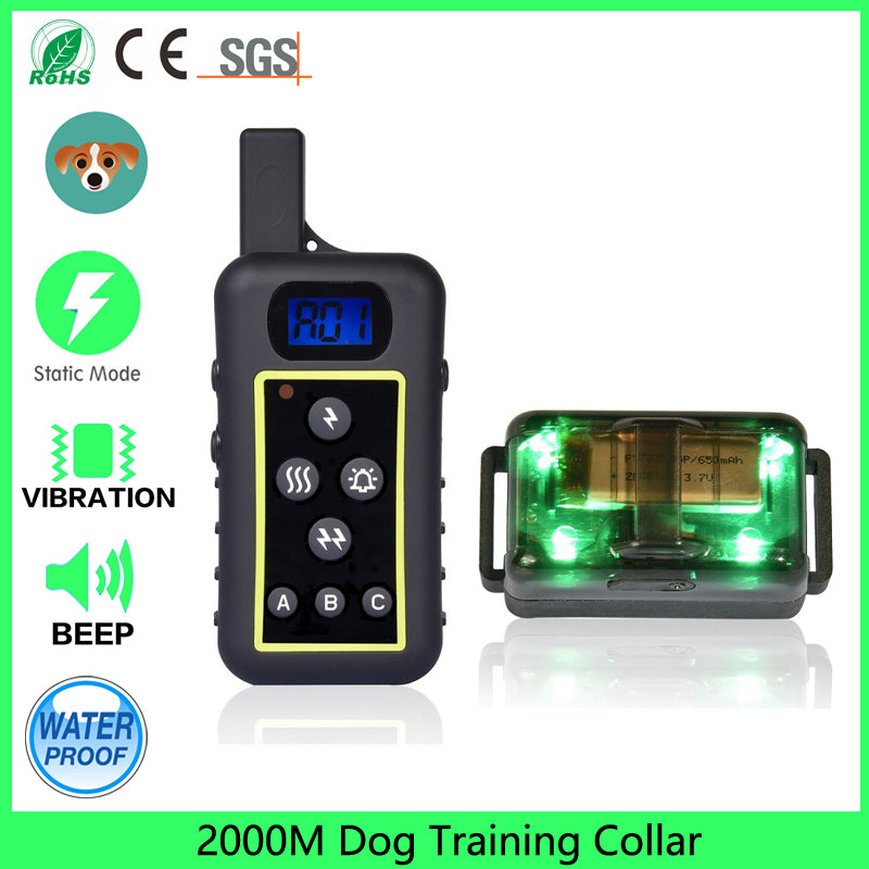 Waterproof 2000m Remote Control Dog Training Collar with Safe Beep Vibration Shock Electric Rechargeable and Rainproof