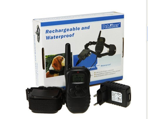 Waterproof Rechargeable Remote Electric Shock Anti-Bark Dog Training Collar LCD Display 998DR blue blacklight option