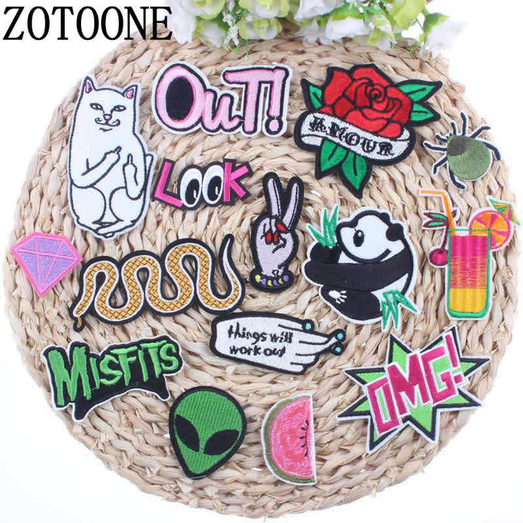 ZOTOONE Alien White Cat Rose Panda Snake Hand Spider Patch Cartoon Iron On Cheap Embroidered  Patches For Clothes Anime Badges A