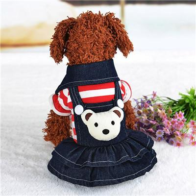 dog dress clothes princess dog dress winter Warm christmas Denim Skirt Jean small Pet Clothes costume Striped Pet Princess Dress