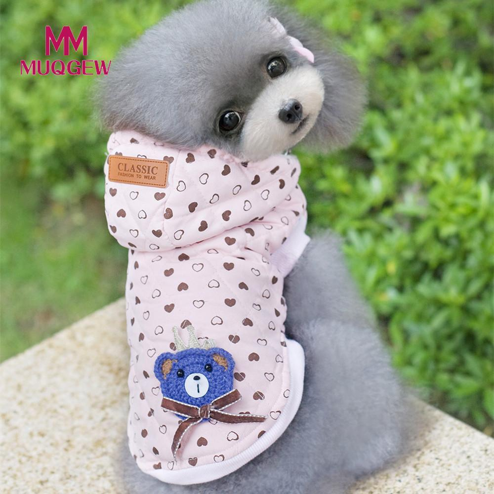 dog hoodie coats jackets clothing winter warm Love heart Pattern samll Dog Coat pet Cotton Velvet clothes costume christmas 2017