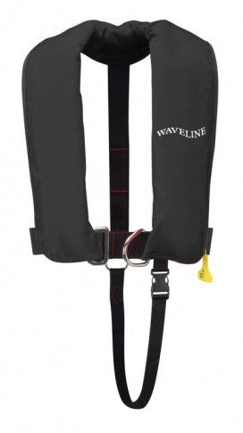 165N ISO Black Auto Harness LifeJacket With Crutch Strap