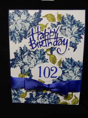 handmade card for 102 birthday