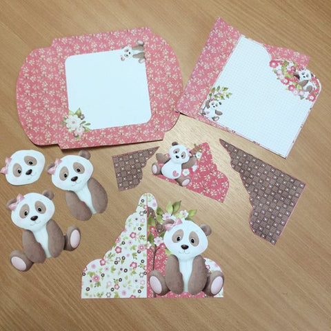 cut out envelope and card pieces from the Panda wrap kit