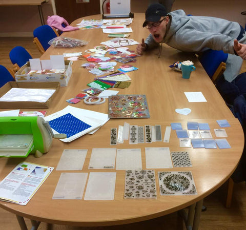 craft activities with a group of supported housing residents using donated craft supplies