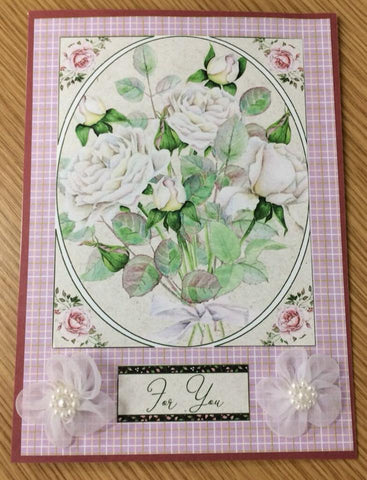 printable floral card front on a handmade card