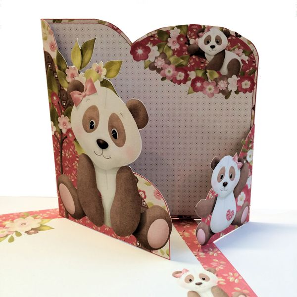 Wrap around gatefold card with a panda and cub made from a printable card making kit