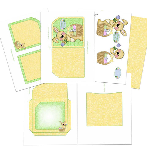 6 pages of easter printables in the card making kit