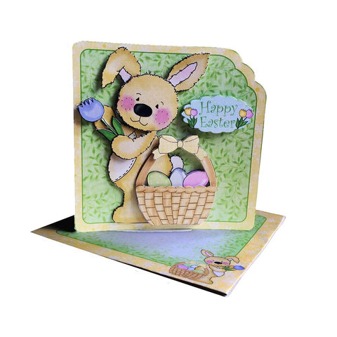 easter printable card making kit for making an easy scalloped edge decoupage card with bunny and basket of eggs