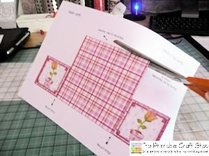 cutting out the printable gatefold envelope base card