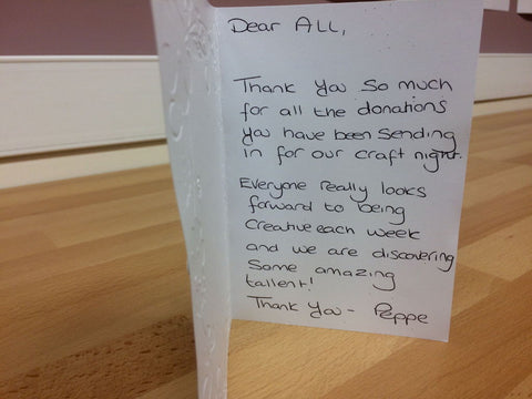handmade Thank You card for our donors who sent unwanted craft supplies to be used by the homeless hostel