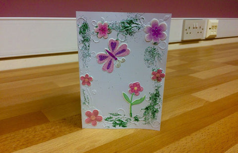 handmade thank you card for our donors who sent craft supplies to use in group activities for homeless young men