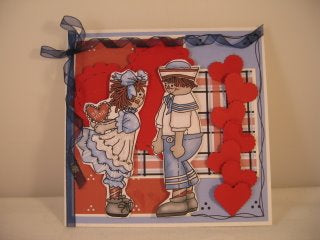 Handmade Valentine's Day Card using Raggedy Annie and Andy Clip Art