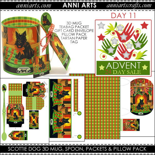 christmas printables 11 Scottie Dog 3D Mug, Teabag Packet, Gift Card Envelope, Pillow Pack and Tartan Paper