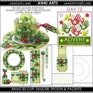 christmas printables 12 Xmas 3D Cup, Saucer, Spoon and Packets