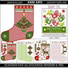 Load image into Gallery viewer, christmas printables 15 Scandinavian Christmas Reindeer and Tree Stockings