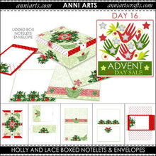 Load image into Gallery viewer, christmas printables 16 Holly and Lace Notelets and Envelopes