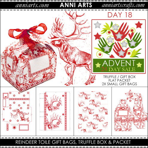 christmas printables 18 Reindeer Toile de Jouy Truffle Box and Gift Bags