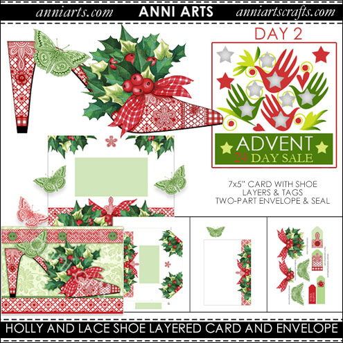 Printable Holly and Lace Shoe Card