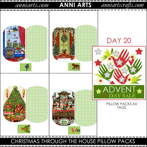 christmas printables 20 Christmas House Pillow Packs x4
