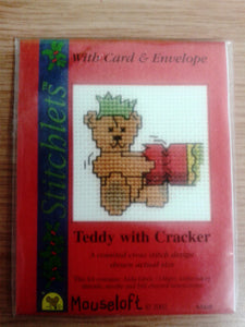 Teddy with Cracker Cross Stitch Card Kit - The Printable Craft Shop
