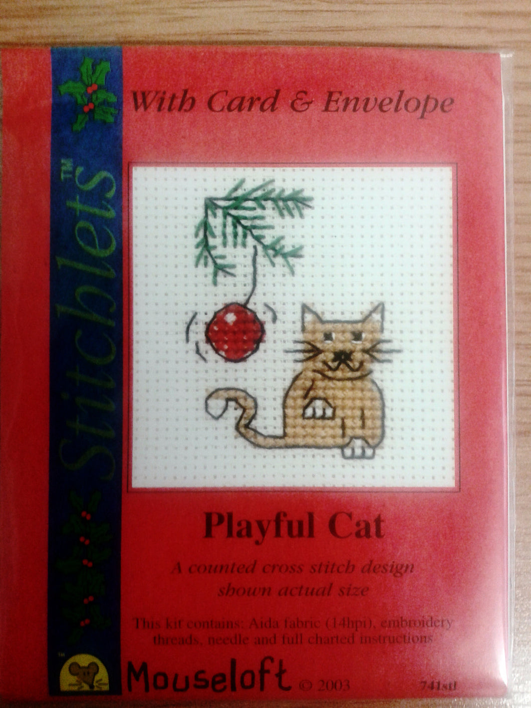 Playful Cat Cross Stitch Card Kit - The Printable Craft Shop