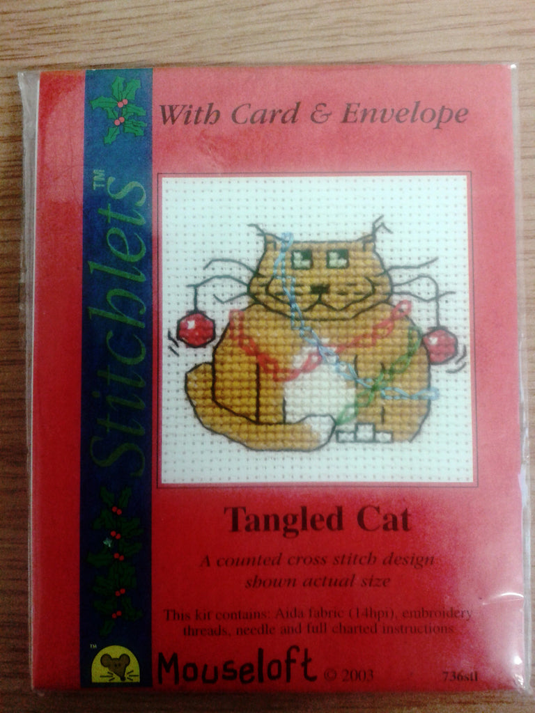 Tangled Cat Cross Stitch Card Kit - The Printable Craft Shop