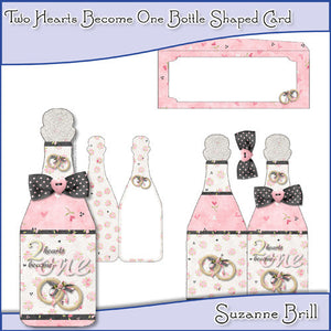 Two Hearts Become One Bottle Shaped Card - The Printable Craft Shop