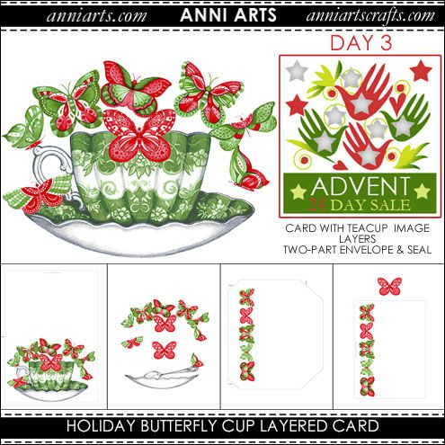 christmas printables Holiday Butterfly Cup Layer Card