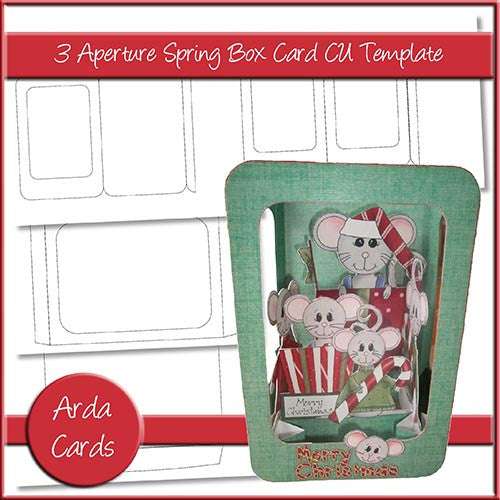 3 Aperture Spring Box Card CU Template - The Printable Craft Shop