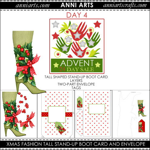 christmas printables 4  Xmas Fashion Boot Tall Shaped Stand-up card and Envelope