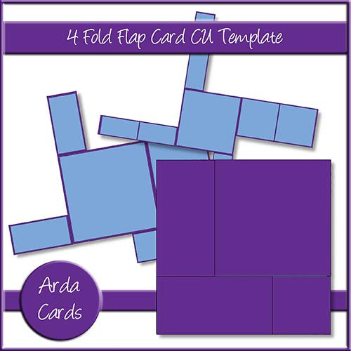 4 Fold Flap Card CU Template - The Printable Craft Shop