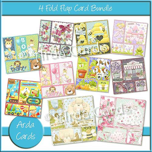 Printable 4 Fold Flap Card Bundle - The Printable Craft Shop - 1
