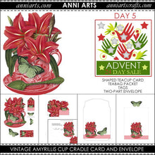 Load image into Gallery viewer, christmas printables 5  Vintage Amyrillis Cup Cradle Card, Teabag Packet and Envelope