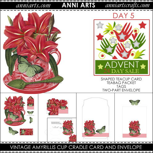 christmas printables 5  Vintage Amyrillis Cup Cradle Card, Teabag Packet and Envelope