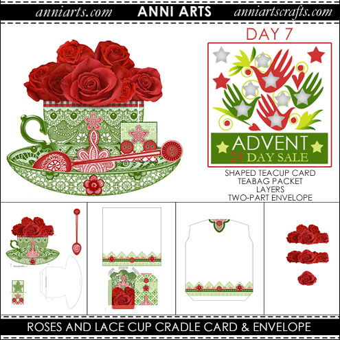 christmas printables 7  Roses and Lace Cradle Card, Teabag Packet and Envelope