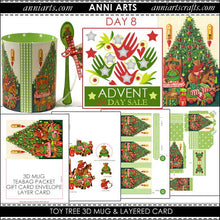 Load image into Gallery viewer, christmas printables 8  Toy Tree 3D Mug, Teabag Packet, Gift Card Envelope and Layer Card