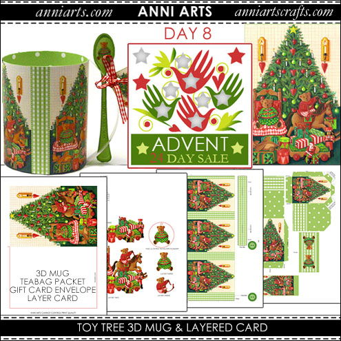 christmas printables 8  Toy Tree 3D Mug, Teabag Packet, Gift Card Envelope and Layer Card