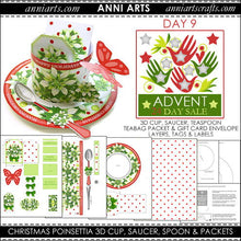 Load image into Gallery viewer, christmas printables 9  Christmas Poinsettia 3D Cup, Saucer, Spoon and Packets