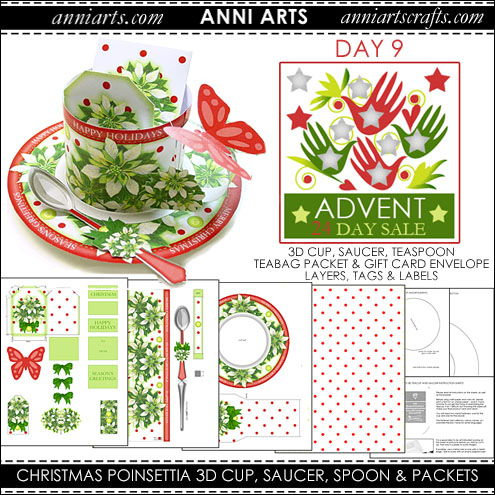 christmas printables 9  Christmas Poinsettia 3D Cup, Saucer, Spoon and Packets