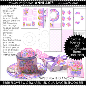 3D Teacup, Saucer and Spoon - April Birth Flower Printables