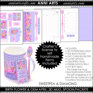 3D Mug & Latte Spoon  - April Birth Flower Printables