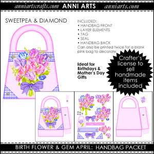 Handbag Gift Packet - April Birth Flower Printables