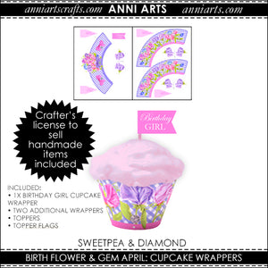 Cupcake Wrappers & Toppers  - April Birth Flower Printables