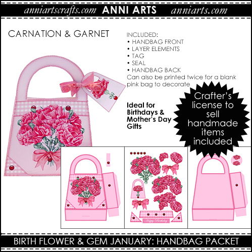 Handbag Gift Packet  - January Birth Flower & Gem Printables