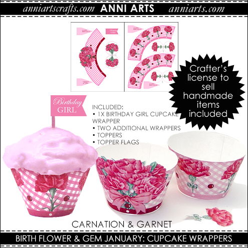 Cupcake Wrappers & Toppers  - January Birth Flower & Gem Printables