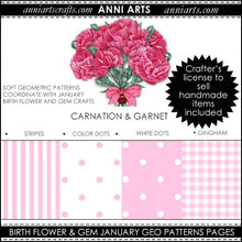 Load image into Gallery viewer, January Birth Flower & Gem Printables Combo Bundle