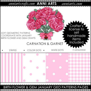 January Birth Flower & Gem Printables Combo Bundle