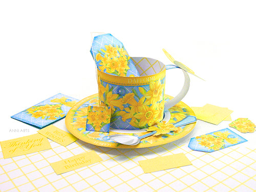 3D Teacup, Saucer and Spoon - March Birth Flower & Gem Printables
